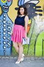 White-shoes-light-blue-bag-bubble-gum-skirt-navy-top