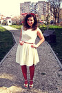 Ivory-chi-chi-dress-ruby-red-tights-cream-modcloth-sandals-brown-belt