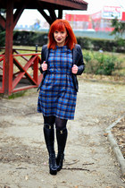 black Jeffrey Campbell boots - blue Front Row Shop dress - charcoal gray tights