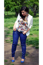 blue Pull & Bear pants - white meli melo bag