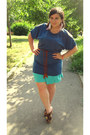 Navy-oasap-dress-brown-blowfish-clogs-pink-handmade-earrings