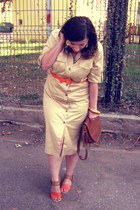 carrot orange OASAP sandals - cream dress - brown bag - yellow accessories