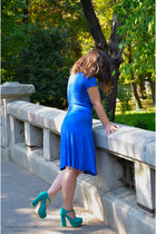 blue dress - turquoise blue SuperPantofiro pumps - necklace