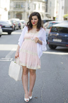light pink dress - white cardigan