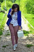 blue blazer - white shirt - ruby red Stardivarius pants