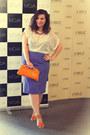 Light-orange-meli-melo-purse-carrot-orange-oasap-sandals-purple-skirt