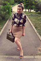 olive green The Bag Shop bag - black romwe shirt - cream vintage skirt