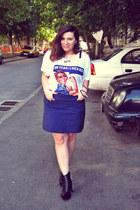 white Tshirt Factory t-shirt - black JC Litas boots - navy H&M skirt