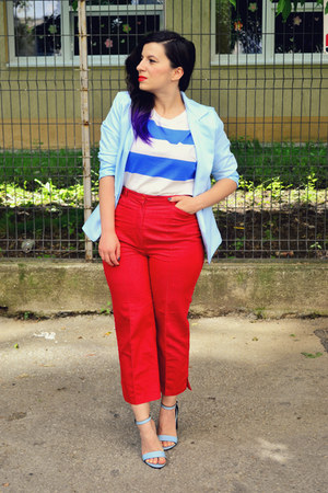 sky blue Zara sandals - light blue dresslily blazer - red second hand pants