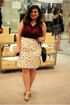 bracelet - crimson shirt - charcoal gray moa purse - Etic skirt