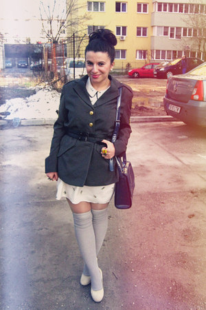 olive green blazer - ivory atmosphere dress - blue bag - silver socks
