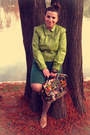 Bronze-shoes-forest-green-dress-lime-green-vintage-jacket
