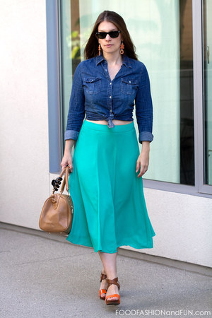 teal Forever 21 skirt - natural leather Terzetto purse