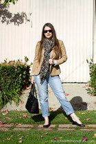 black Ray Ban sunglasses - camel hm blazer - animal print scarf