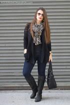 cardigan banana republic sweater - black leather corso como boots