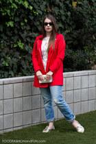 lace kohls blouse - boyfriend jeans AG Jeans jeans - red hm jacket