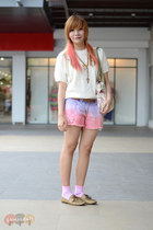 bubble gum dip dye DIY shorts