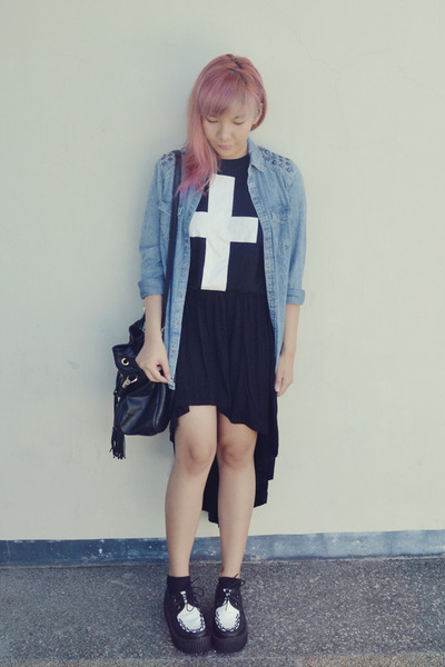 black cross Forever21 shirt - black Forever21 bag