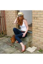 brown my dads belt - beige Topshop hat - blue Walmart pants - brown J by Jasper