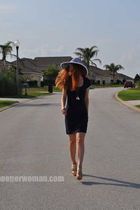 blue H&M dress - gold Charlotte Russe shoes - white Local Boutique hat - blue ne