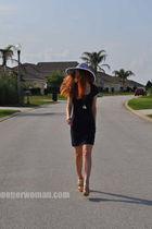 blue H&M dress - gold Charlotte Russe shoes - white Local Boutique hat - blue ne