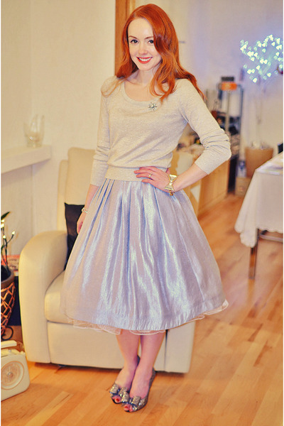 silver ted baker shoes - silver H&M sweater - light blue Topshop skirt