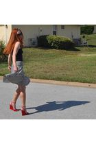 red Christian Louboutin shoes - black H&M skirt - blue Matalan top - black Gucci