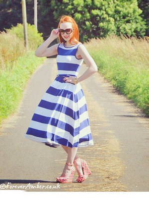 blue asos dress - red Schuh wedges