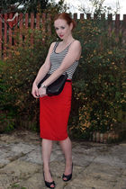 red asoscom skirt - black new look shoes - black Gucci bag - black H&M top
