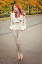 beige new look jacket - tawny H&M pants - neutral Christian Louboutin heels