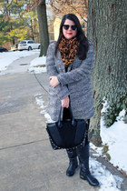 black Shoedazzle boots - black Old Navy coat - dark green H&M sweater