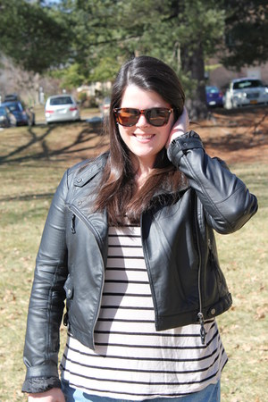 black JustFab boots - light blue Old Navy jeans - black Forever 21 jacket