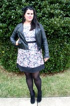 Forever 21 jacket - JustFab boots - Target dress - Forever 21 hair accessory
