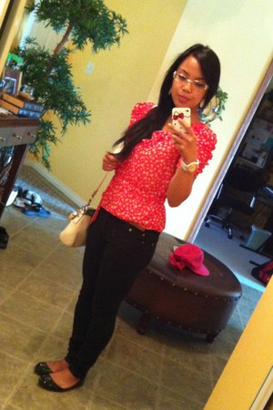 Forever 21 earrings - super skinny Stitches jeans - coach bag - Aldo flats