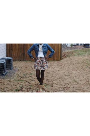 Forever 21 boots - New York & Company jacket - Forever 21 skirt