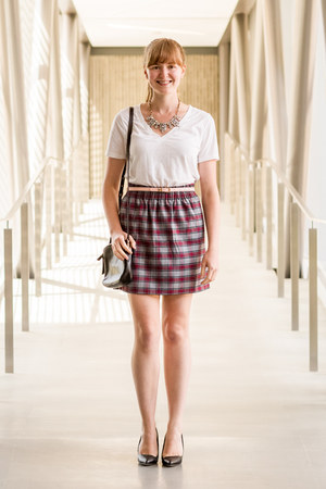 Happiness Boutique necklace - Fossil bag - Old Navy top - J Crew skirt