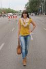 Sky-blue-tally-weijl-jeans-cream-h-m-scarf-brown-vero-moda-bag