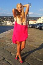 hot pink Mango dress - light brown Buffalo flats - gold H&M necklace