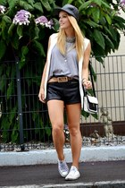 black leather asos hat - heather gray H&M shirt