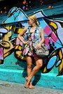 Heather-gray-leather-aigner-bag-sky-blue-denim-zara-vest-red-zara-sandals