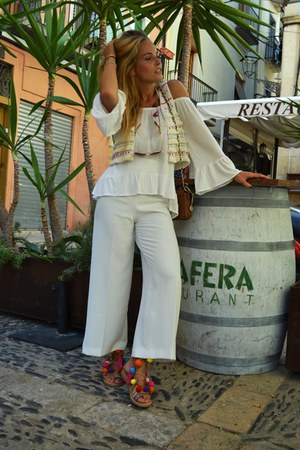 DKNY bag - palazzo Zara pants - pom pom Choies sandals - off shoulder Mango top