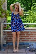 floral Zara dress - aigner bag - H&M sunglasses - Zara heels