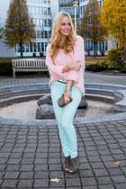 pink fluffy H&M sweater - turquoise blue H&M panties - bronze spiked Zara belt