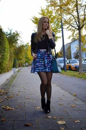 organza H&M skirt - faux leather H&M jacket - satchel MCM bag