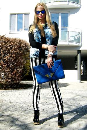 denim Zara vest - backless H&M shirt - blue River Island sunglasses - Zara heels
