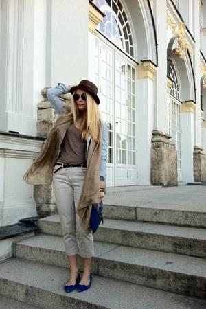 blue asos bag - brown MACHIMA hat - light blue H&M blazer - beige MACHIMA scarf