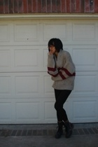 Salvation Army sweater - leggings - Aldo boots - BCBG accessories