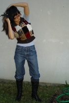 aa top - Miss Sixty vest - Salvation Army jeans - Macys boots