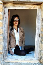 brown vintage jacket - black Target leggings - white Forever 21 shirt - black vi
