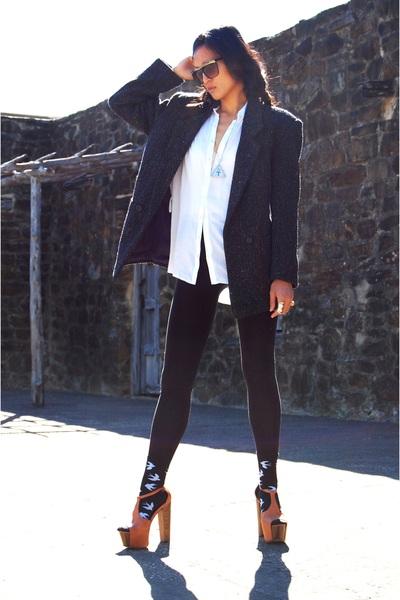 black vintage coat - white Forever 21 shirt - black Target leggings - orange Jes